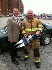 Hurst VP Bill Simmons and Shepherd's Fire Captain Brendon Chapman with the Hurst eDraulic Spreader